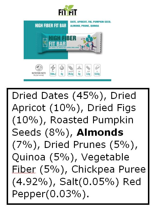 High Fiber Bar ingredients