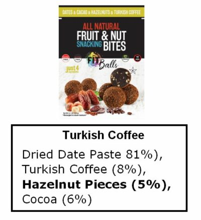 Turkish Coffee fitball ingredients